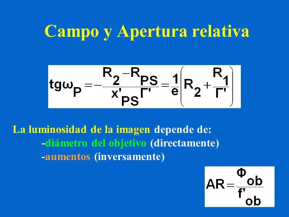 Campo y Apertura relativa La luminosidad de la imagen depende de: -diámetro del objetivo (directamente) -aumentos (inversamente)