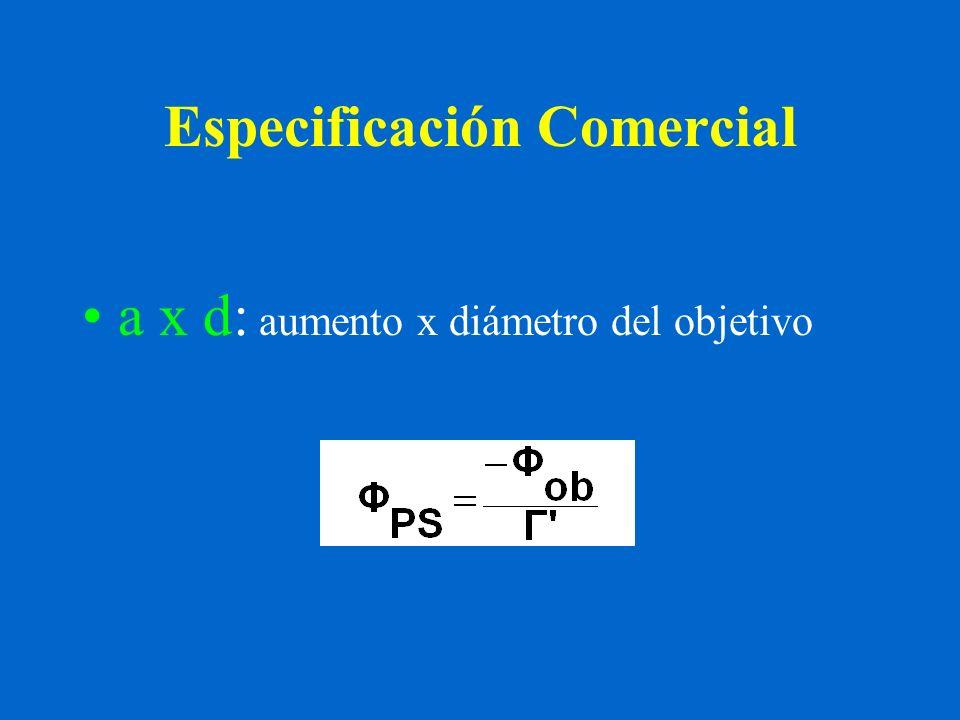 Especificación Comercial a x d: aumento x diámetro del objetivo