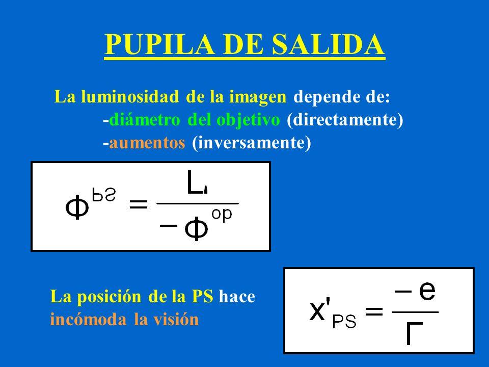 PUPILA DE SALIDA La luminosidad de la imagen depende de: -diámetro del objetivo (directamente) -aumentos (inversamente) La posición de la PS hace incó