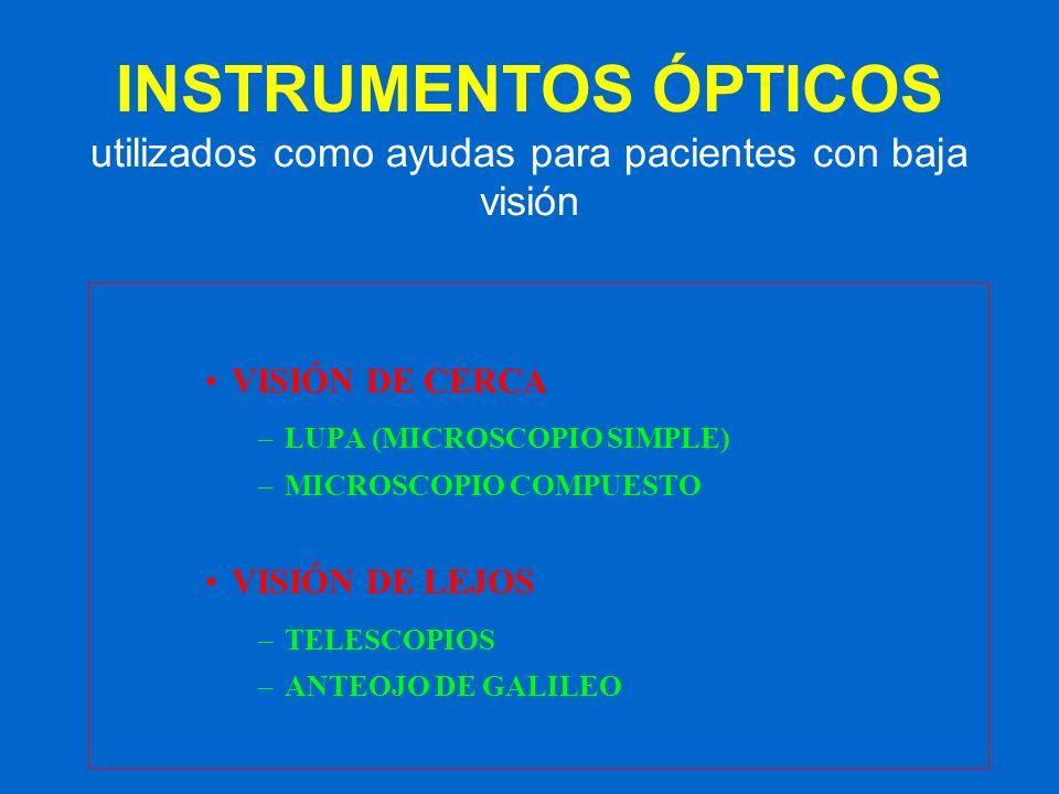 INSTRUMENTOS ÓPTICOS utilizados como ayudas para pacientes con baja visión VISIÓN DE CERCA –LUPA (MICROSCOPIO SIMPLE) –MICROSCOPIO COMPUESTO VISIÓN DE