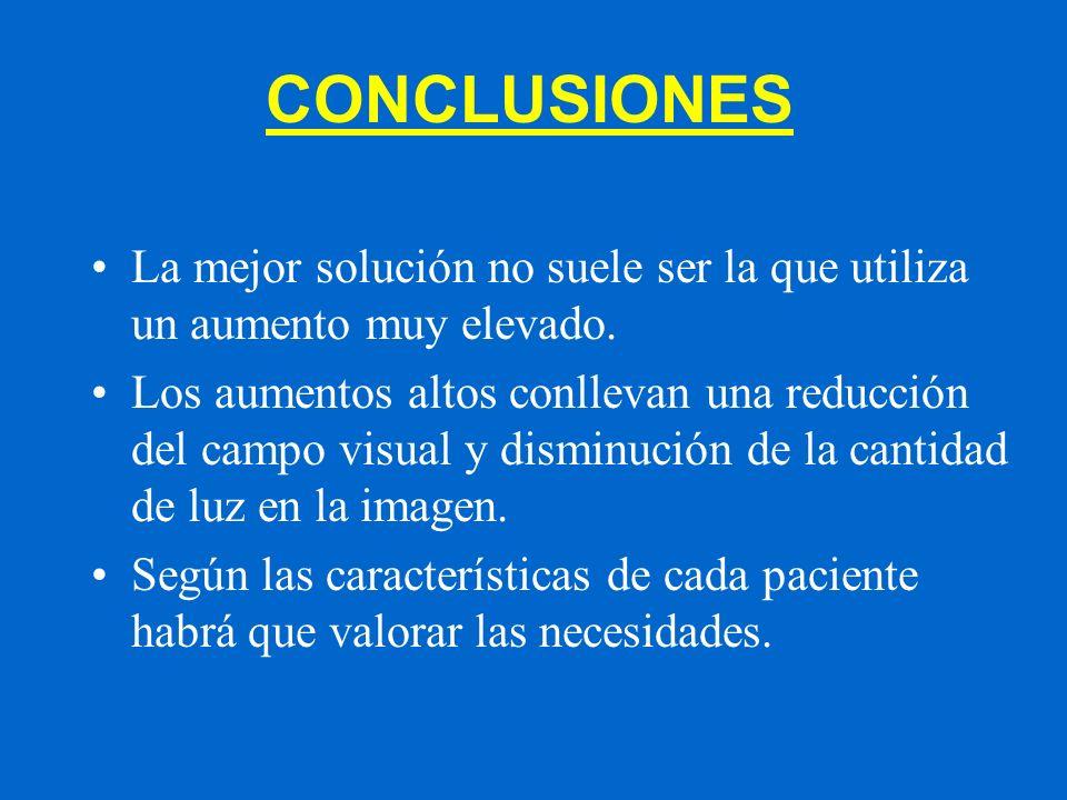 CONCLUSIONES La mejor solución no suele ser la que utiliza un aumento muy elevado. Los aumentos altos conllevan una reducción del campo visual y dismi