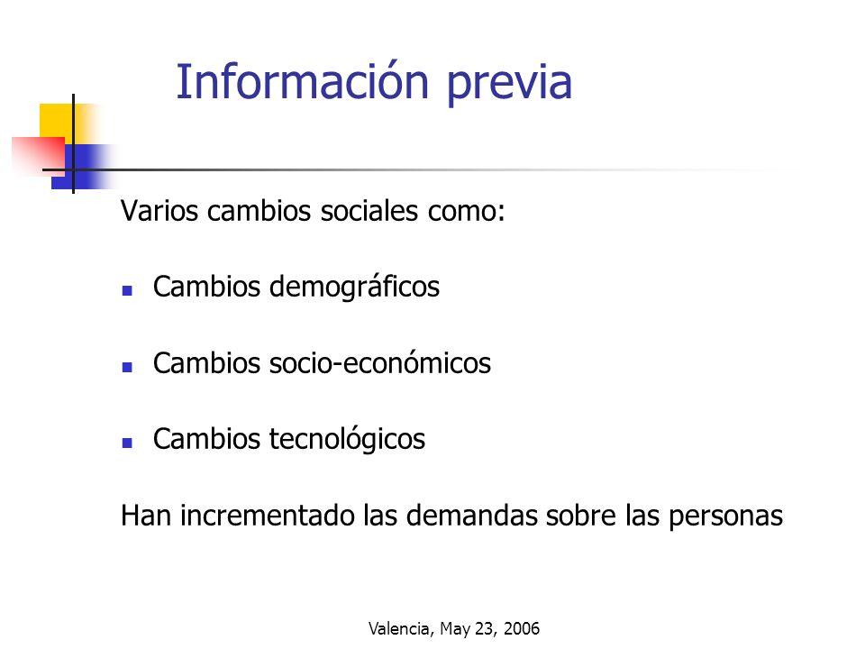 Valencia, May 23, 2006 Información previa Varios cambios sociales como: Cambios demográficos Cambios socio-económicos Cambios tecnológicos Han increme
