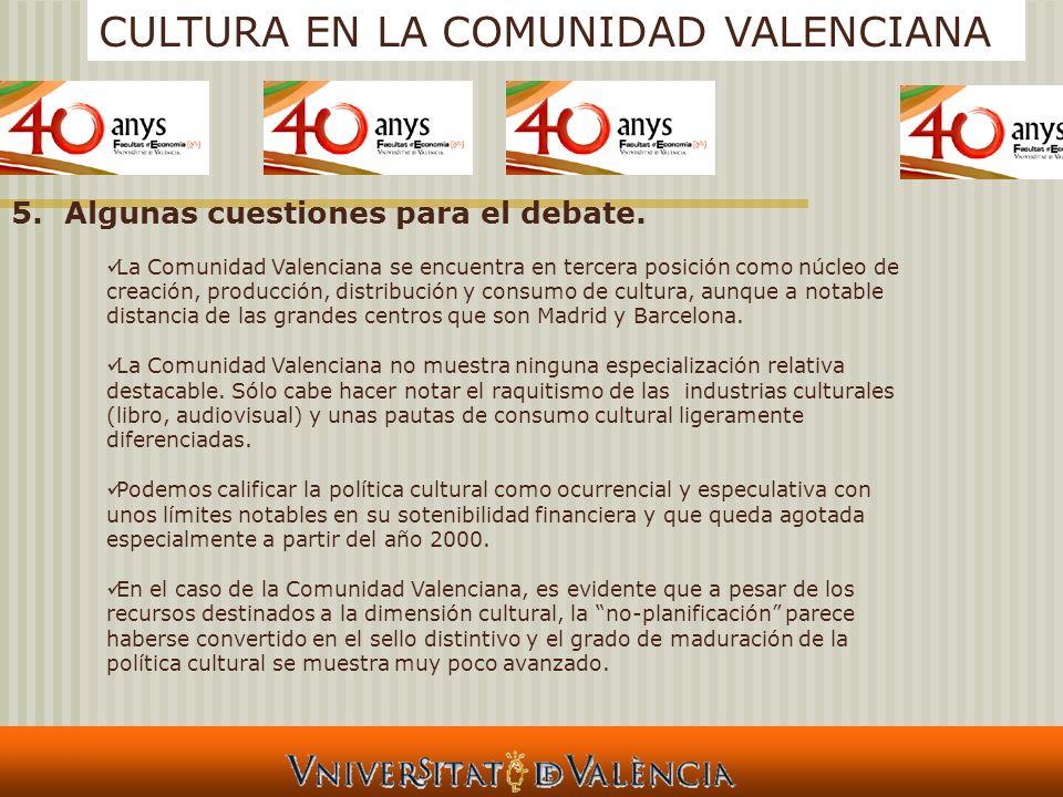 CULTURA EN LA COMUNIDAD VALENCIANA 5.Algunas cuestiones para el debate. La Comunidad Valenciana se encuentra en tercera posición como núcleo de creaci