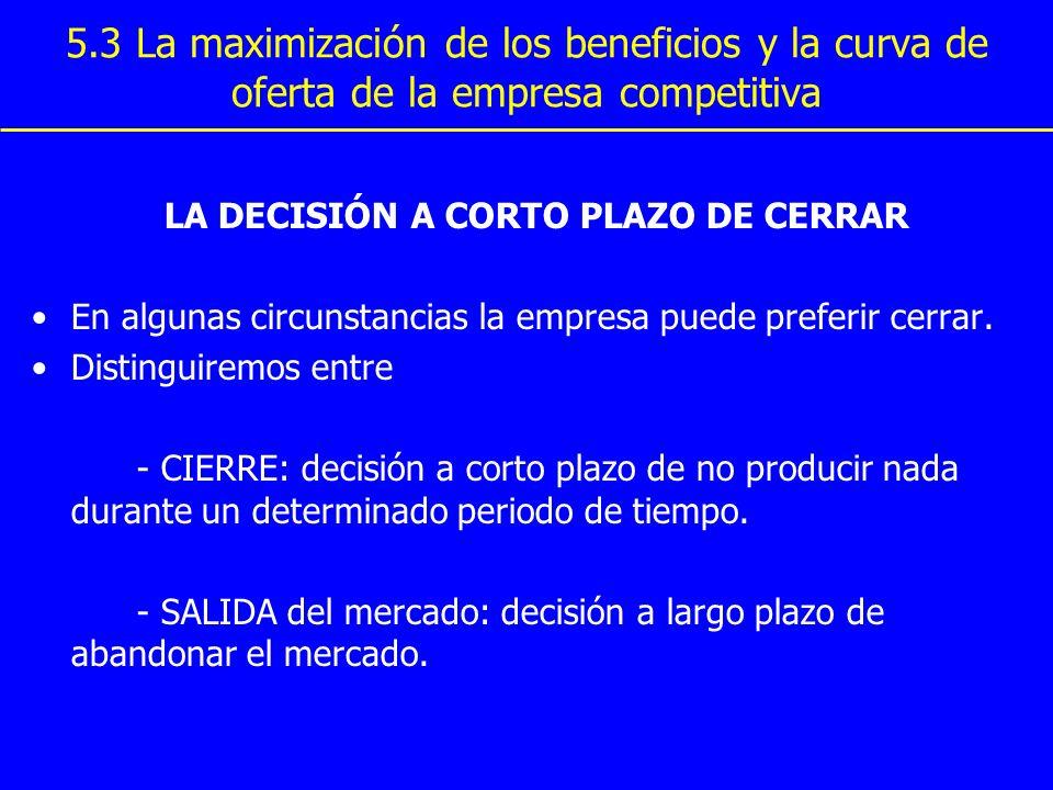 5.3 La maximización de los beneficios y la curva de oferta de la empresa competitiva LA DECISIÓN A CORTO PLAZO DE CERRAR En algunas circunstancias la