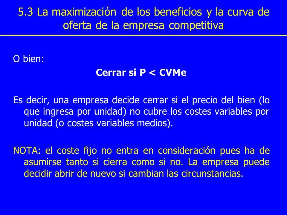 5.3 La maximización de los beneficios y la curva de oferta de la empresa competitiva O bien: Cerrar si P < CVMe Es decir, una empresa decide cerrar si