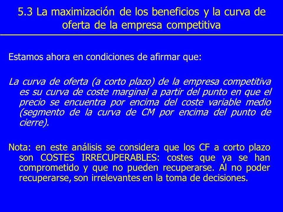 5.3 La maximización de los beneficios y la curva de oferta de la empresa competitiva Estamos ahora en condiciones de afirmar que: La curva de oferta (