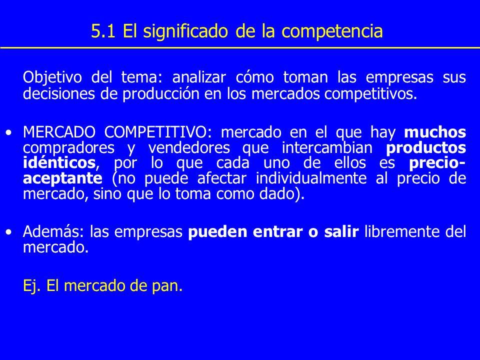 5.1 El significado de la competencia Objetivo del tema: analizar cómo toman las empresas sus decisiones de producción en los mercados competitivos. ME
