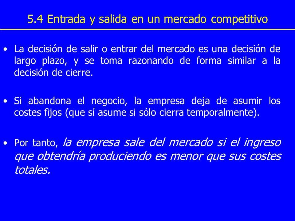 5.4 Entrada y salida en un mercado competitivo La decisión de salir o entrar del mercado es una decisión de largo plazo, y se toma razonando de forma
