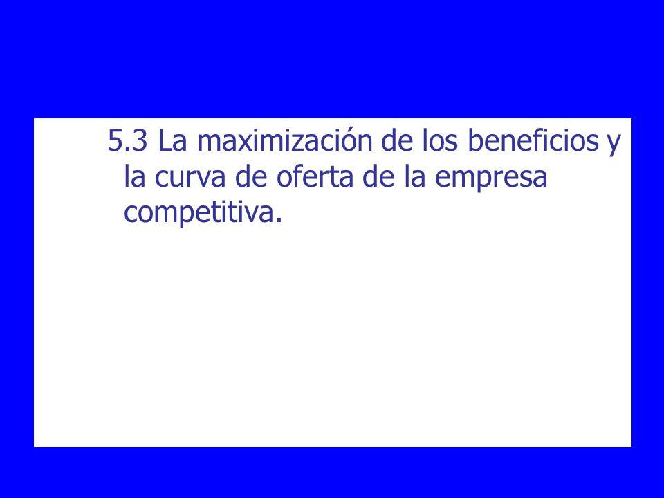 5.3 La maximización de los beneficios y la curva de oferta de la empresa competitiva.