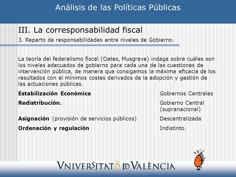 Análisis de las Políticas Públicas III.La corresponsabilidad fiscal 3.
