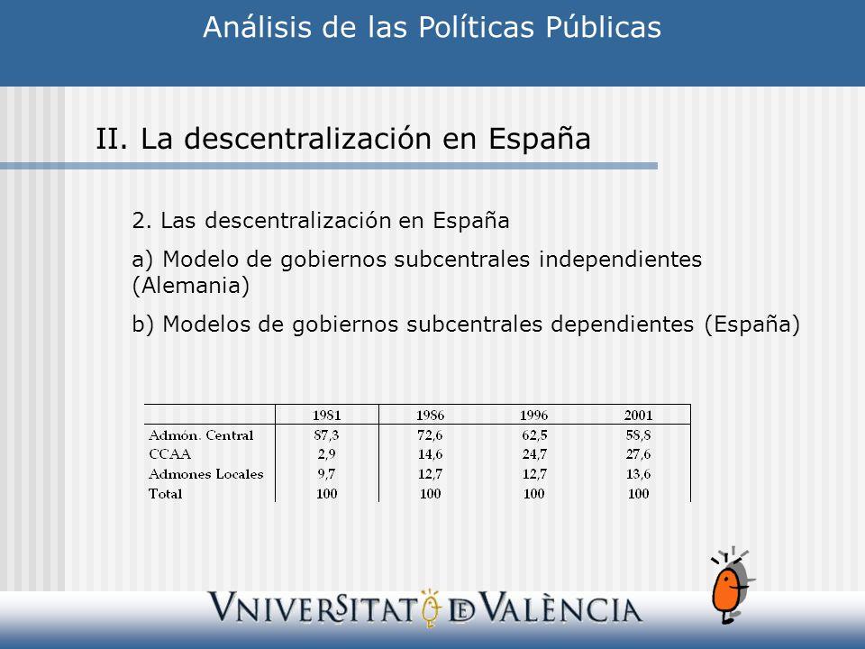 Análisis de las Políticas Públicas II.La descentralización en España 2.