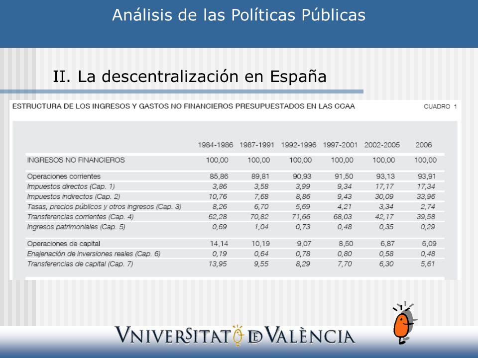 Análisis de las Políticas Públicas II. La descentralización en España