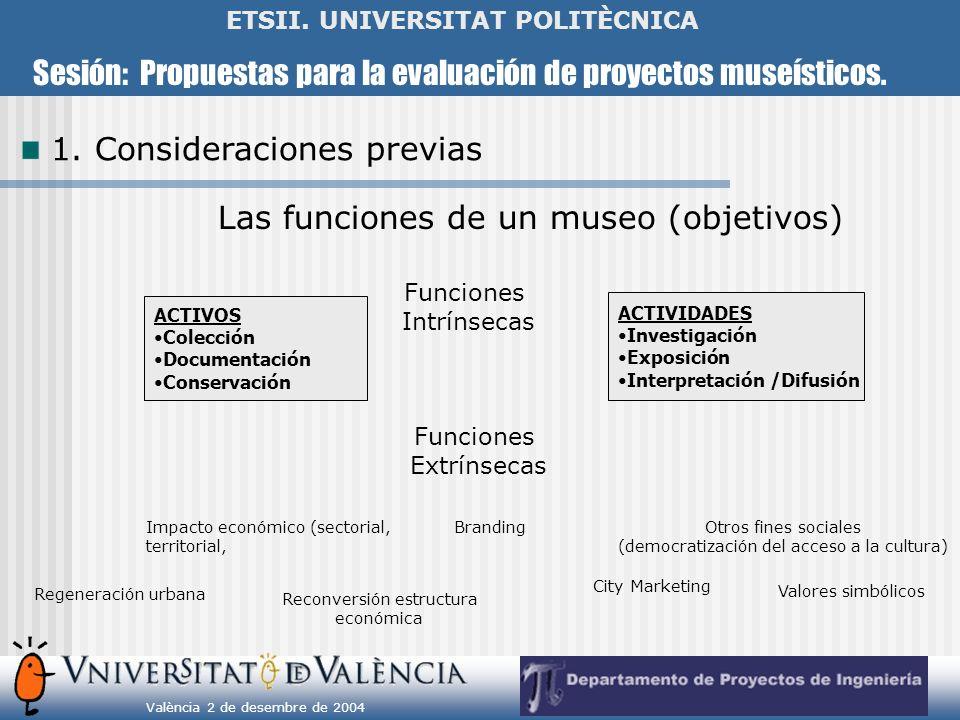 Sesión: Propuestas para la evaluación de proyectos museísticos. València 2 de desembre de 2004 ETSII. UNIVERSITAT POLITÈCNICA Las funciones de un muse