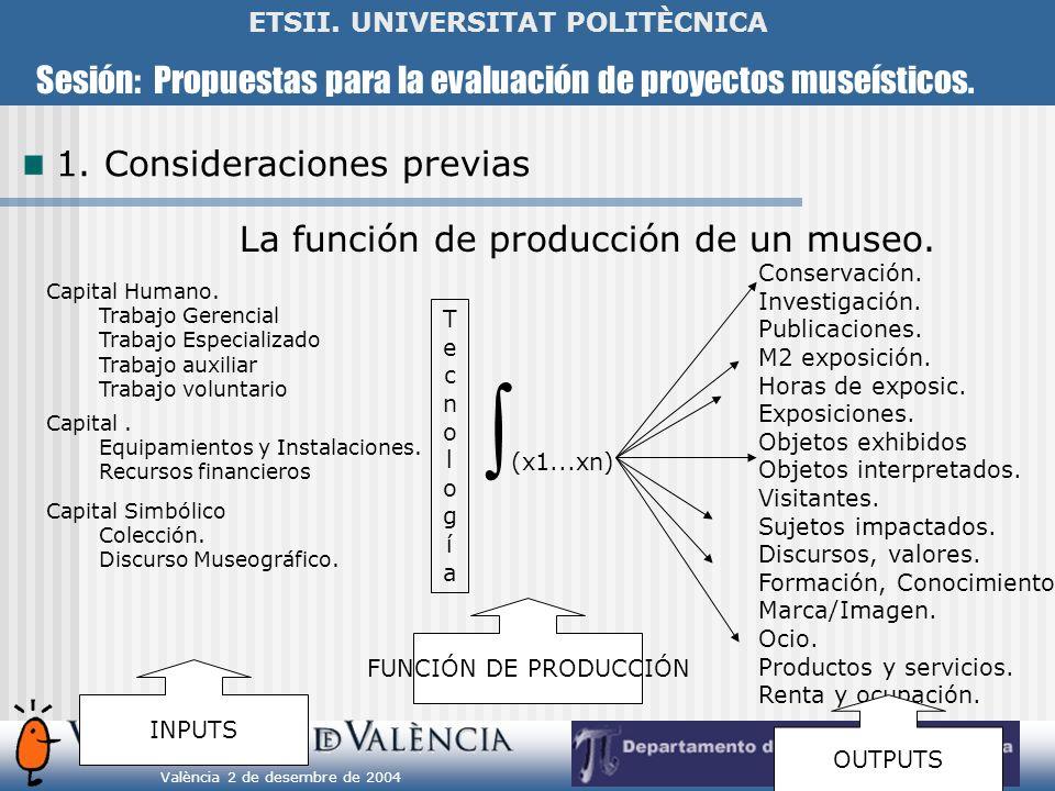 Sesión: Propuestas para la evaluación de proyectos museísticos. València 2 de desembre de 2004 ETSII. UNIVERSITAT POLITÈCNICA La función de producción