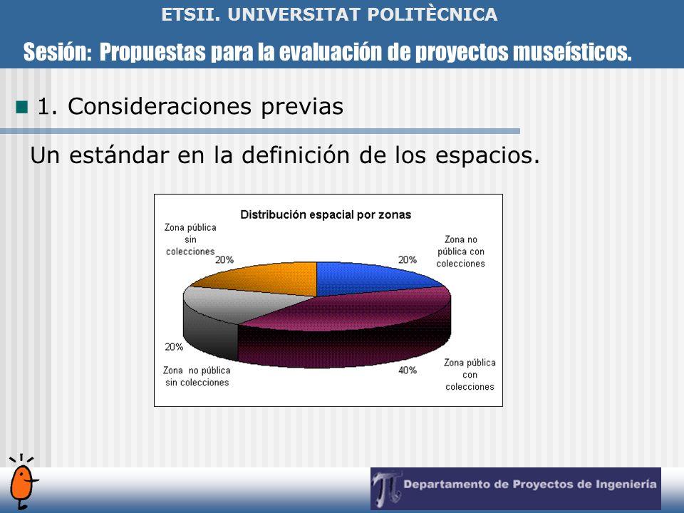 Sesión: Propuestas para la evaluación de proyectos museísticos. ETSII. UNIVERSITAT POLITÈCNICA Un estándar en la definición de los espacios. 1. Consid