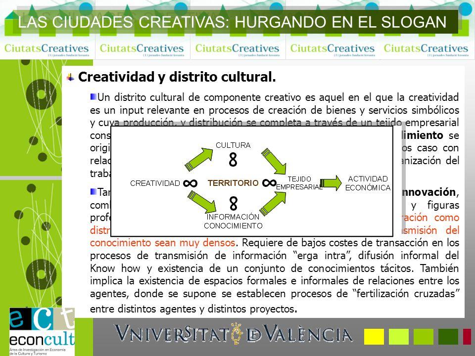 Creatividad y distrito cultural. Un distrito cultural de componente creativo es aquel en el que la creatividad es un input relevante en procesos de cr