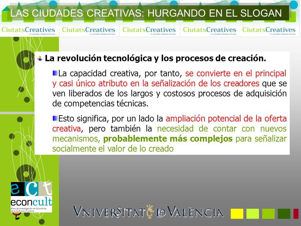 LAS CIUDADES CREATIVAS: HURGANDO EN EL SLOGAN También cabe cuestionar las relaciones entre creatividad y distrito cultural o creatividad aplicada a los productos e innovación sobre los procesos.