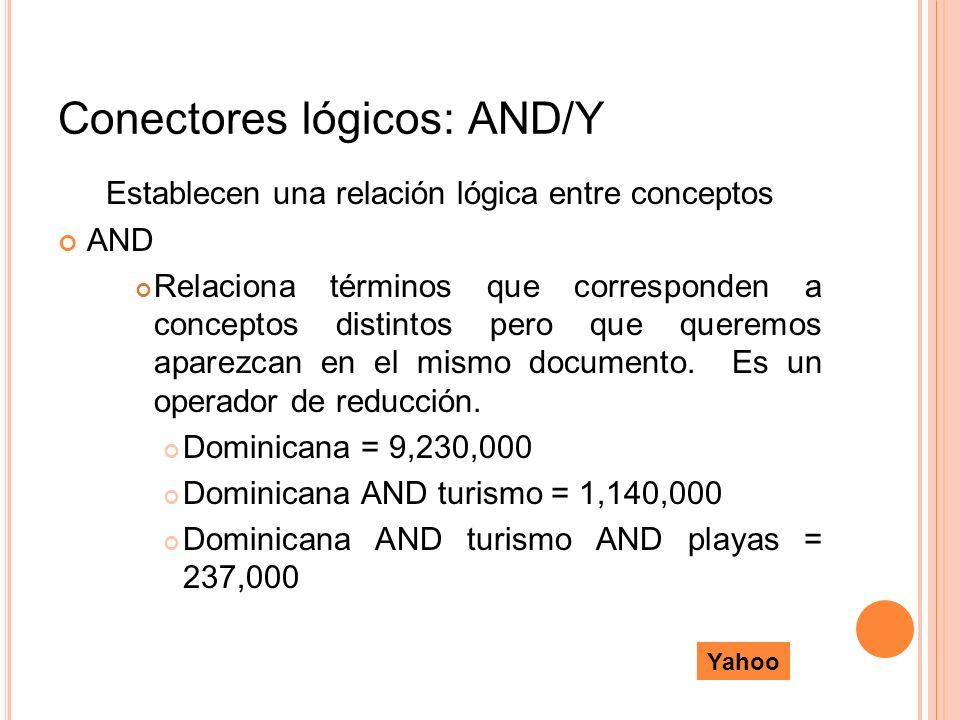 Conectores lógicos: AND/Y Establecen una relación lógica entre conceptos AND Relaciona términos que corresponden a conceptos distintos pero que querem