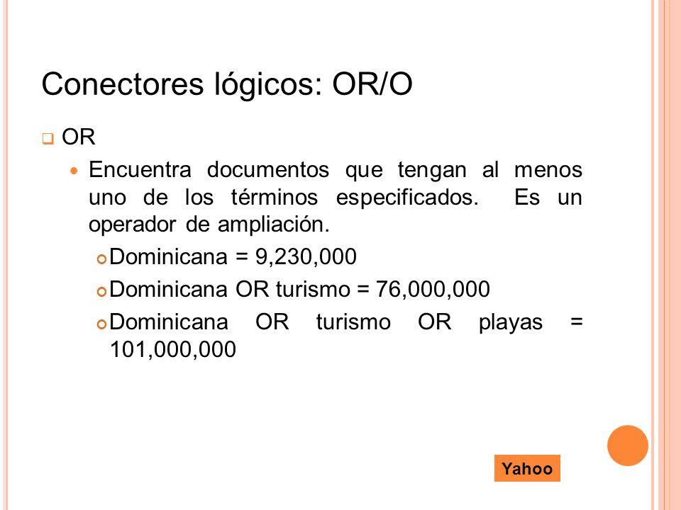 Conectores lógicos: OR/O OR Encuentra documentos que tengan al menos uno de los términos especificados. Es un operador de ampliación. Dominicana = 9,2