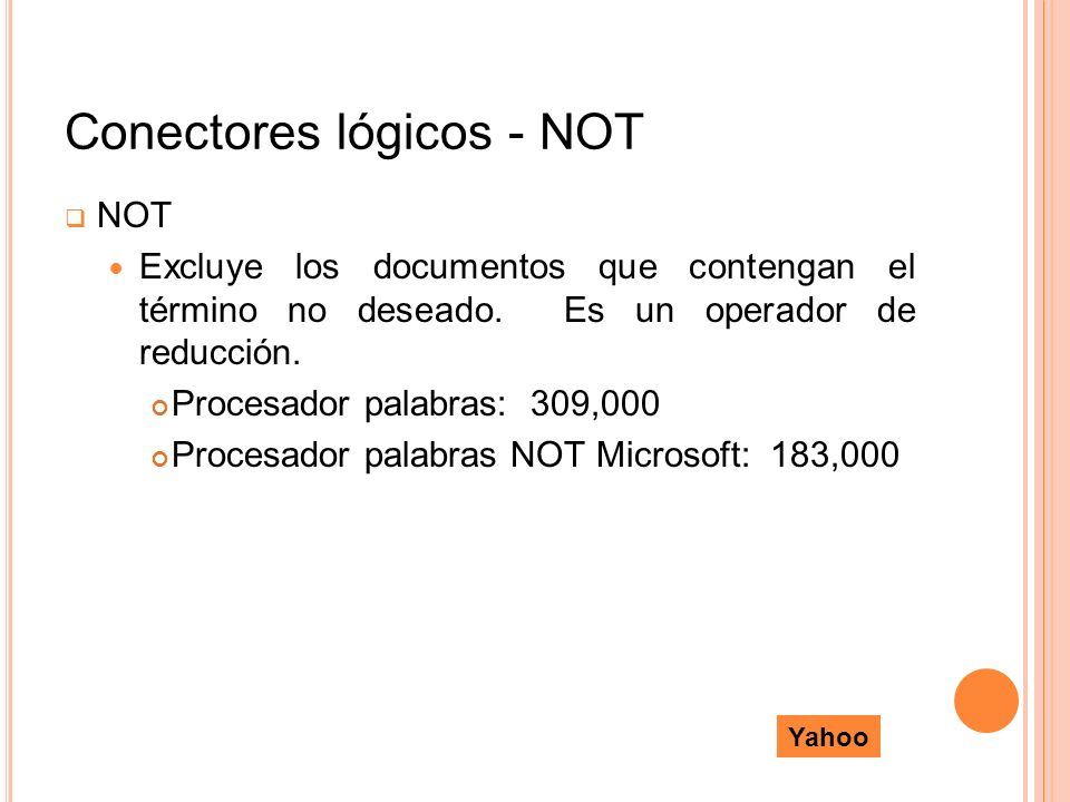 Conectores lógicos - NOT NOT Excluye los documentos que contengan el término no deseado. Es un operador de reducción. Procesador palabras: 309,000 Pro