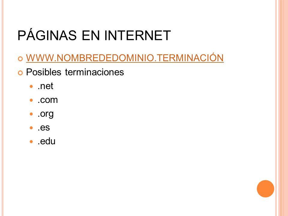 PÁGINAS EN INTERNET WWW.NOMBREDEDOMINIO.TERMINACIÓN Posibles terminaciones.net.com.org.es.edu