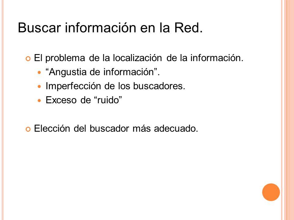 Buscar información en la Red. El problema de la localización de la información. Angustia de información. Imperfección de los buscadores. Exceso de rui