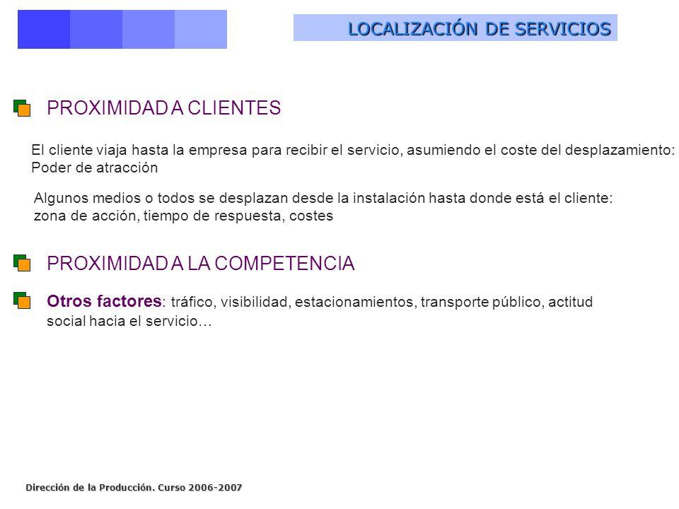 Dirección de la Producción. Curso 2006-2007 LOCALIZACIÓN DE SERVICIOS El cliente viaja hasta la empresa para recibir el servicio, asumiendo el coste d
