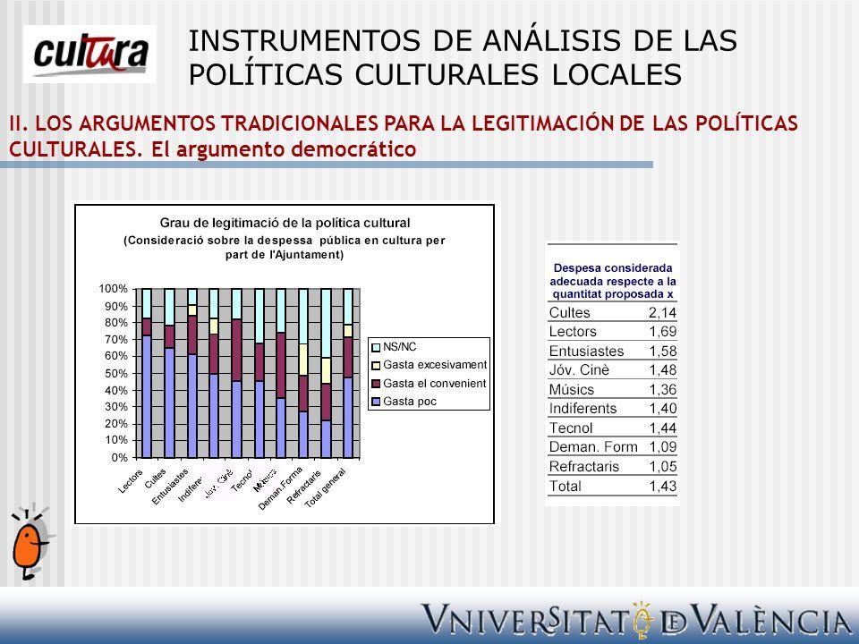 II. LOS ARGUMENTOS TRADICIONALES PARA LA LEGITIMACIÓN DE LAS POLÍTICAS CULTURALES. El argumento democrático INSTRUMENTOS DE ANÁLISIS DE LAS POLÍTICAS