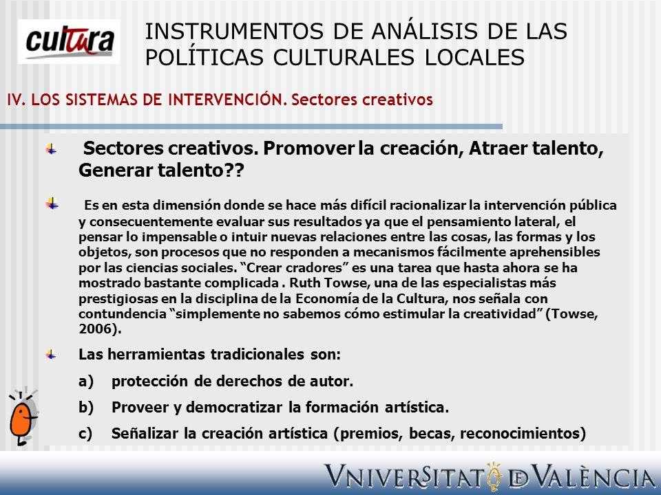 IV. LOS SISTEMAS DE INTERVENCIÓN. Sectores creativos Sectores creativos. Promover la creación, Atraer talento, Generar talento?? Es en esta dimensión