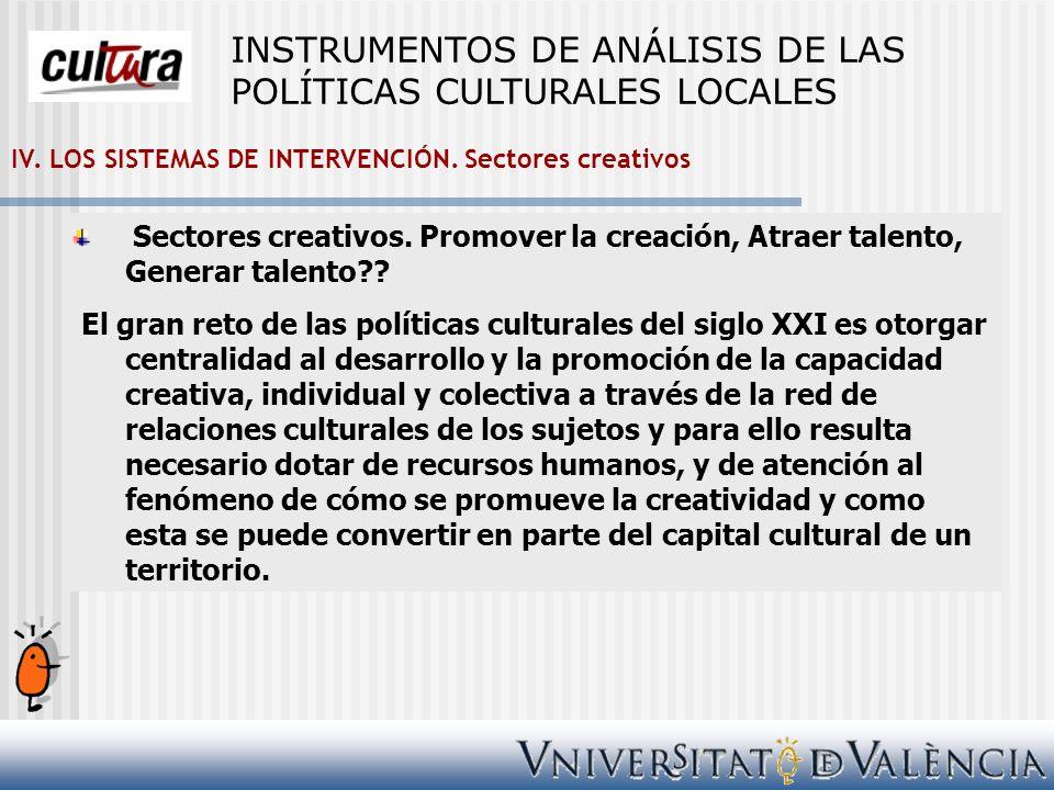 IV. LOS SISTEMAS DE INTERVENCIÓN. Sectores creativos Sectores creativos. Promover la creación, Atraer talento, Generar talento?? El gran reto de las p