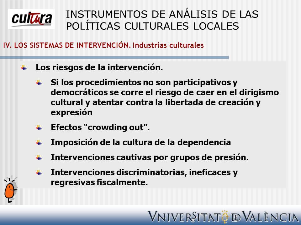 IV. LOS SISTEMAS DE INTERVENCIÓN. Industrias culturales Los riesgos de la intervención. Si los procedimientos no son participativos y democráticos se