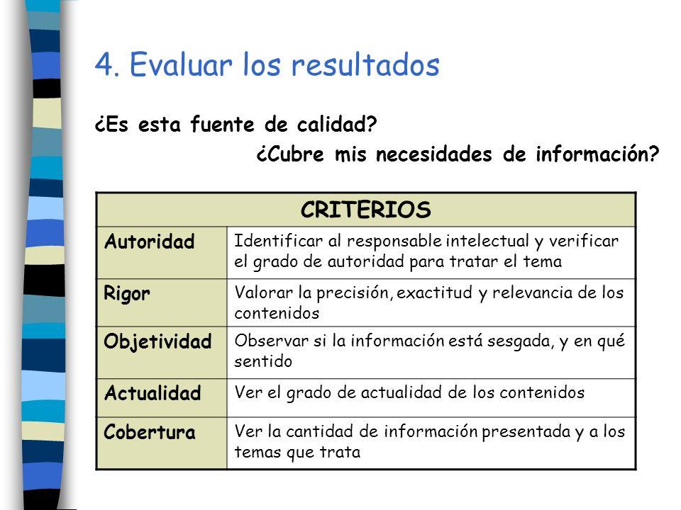 4. Evaluar los resultados ¿Es esta fuente de calidad? ¿Cubre mis necesidades de información? CRITERIOS Autoridad Identificar al responsable intelectua