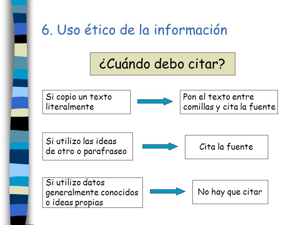 6. Uso ético de la información Si copio un texto literalmente Si utilizo las ideas de otro o parafraseo Si utilizo datos generalmente conocidos o idea