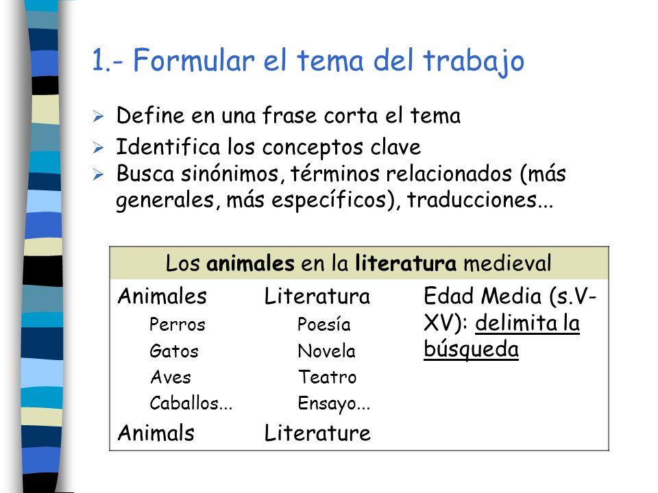 1.- Formular el tema del trabajo Define en una frase corta el tema Identifica los conceptos clave Busca sinónimos, términos relacionados (más generale