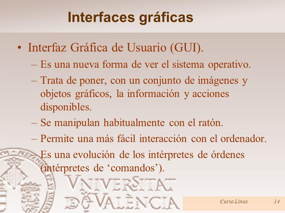 Interfaces gráficas Interfaz Gráfica de Usuario (GUI). –Es una nueva forma de ver el sistema operativo. –Trata de poner, con un conjunto de imágenes y