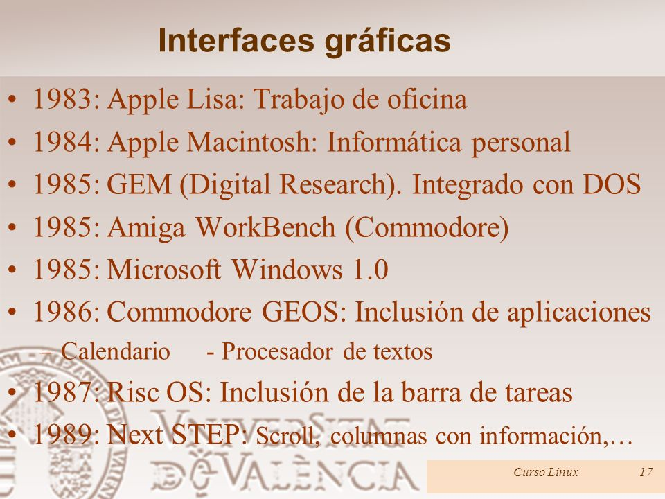 Interfaces gráficas 1983: Apple Lisa: Trabajo de oficina 1984: Apple Macintosh: Informática personal 1985: GEM (Digital Research).