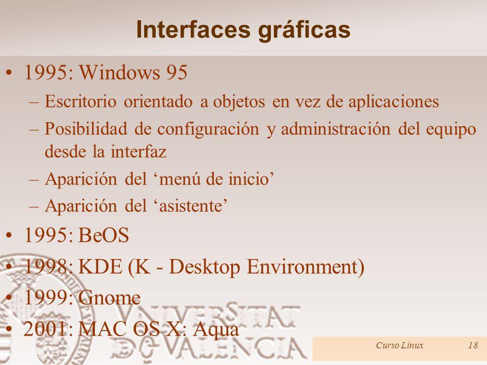 Interfaces gráficas 1995: Windows 95 –Escritorio orientado a objetos en vez de aplicaciones –Posibilidad de configuración y administración del equipo desde la interfaz –Aparición del menú de inicio –Aparición del asistente 1995: BeOS 1998: KDE (K - Desktop Environment) 1999: Gnome 2001: MAC OS X: Aqua Curso Linux18