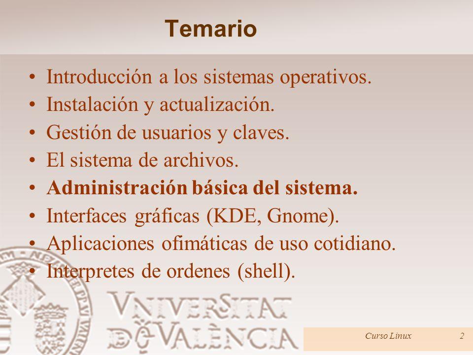 Temario Introducción a los sistemas operativos. Instalación y actualización.