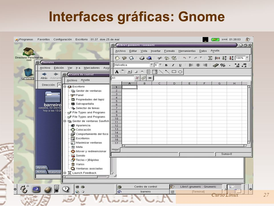 Interfaces gráficas: Gnome Curso Linux27