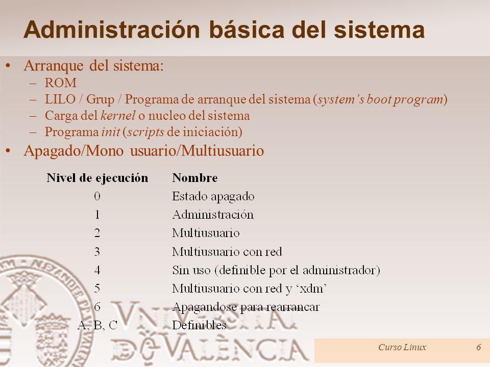 Administración básica del sistema Arranque del sistema: –ROM –LILO / Grup / Programa de arranque del sistema (systems boot program) –Carga del kernel