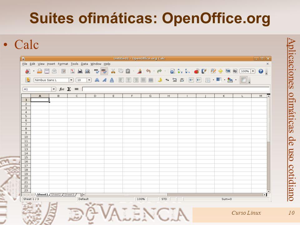 Suites ofimáticas: OpenOffice.org Curso Linux10 Aplicaciones ofimáticas de uso cotidiano Calc