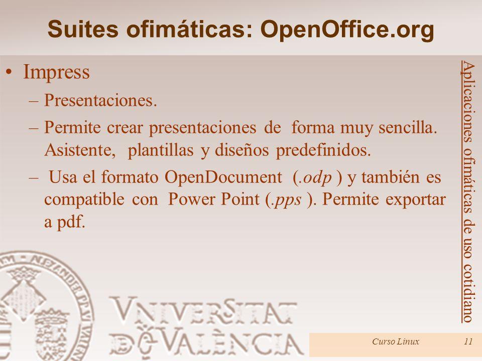 Suites ofimáticas: OpenOffice.org Curso Linux11 Aplicaciones ofimáticas de uso cotidiano Impress –Presentaciones. –Permite crear presentaciones de for