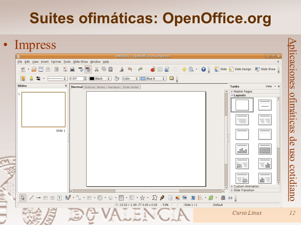 Suites ofimáticas: OpenOffice.org Curso Linux12 Aplicaciones ofimáticas de uso cotidiano Impress