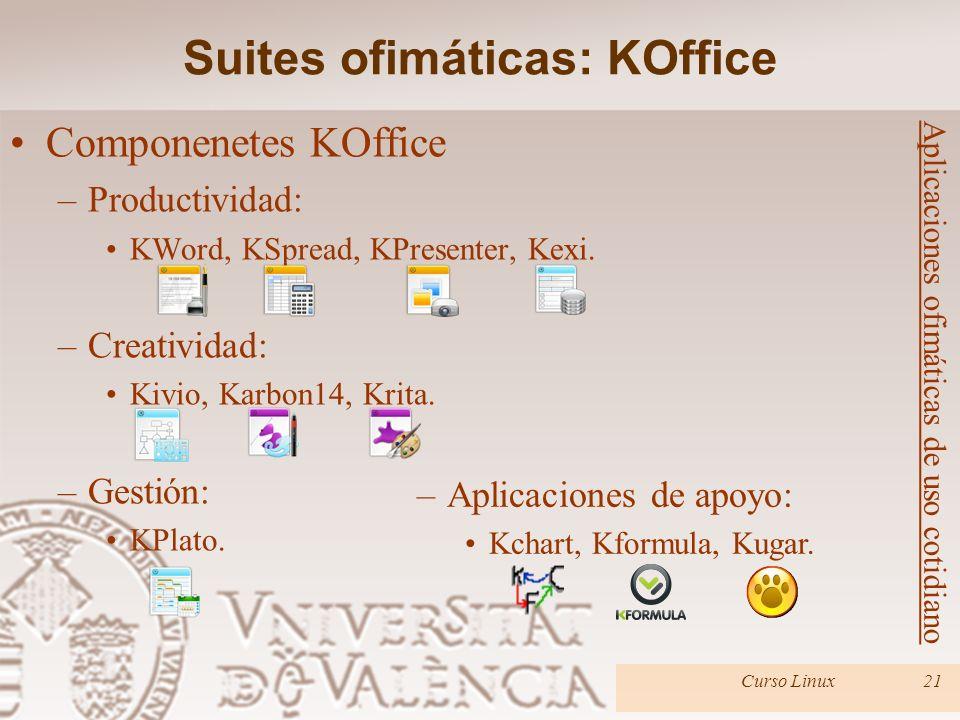 Curso Linux21 Componenetes KOffice –Productividad: KWord, KSpread, KPresenter, Kexi. –Creatividad: Kivio, Karbon14, Krita. –Gestión: KPlato. Suites of