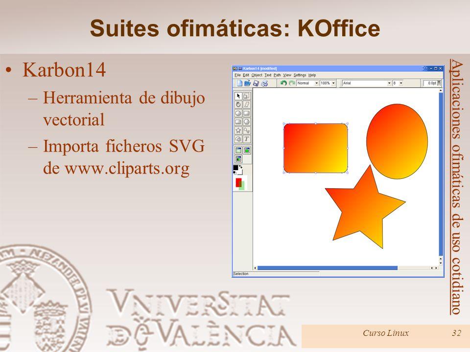 Curso Linux32 Aplicaciones ofimáticas de uso cotidiano Karbon14 –Herramienta de dibujo vectorial –Importa ficheros SVG de www.cliparts.org Suites ofim