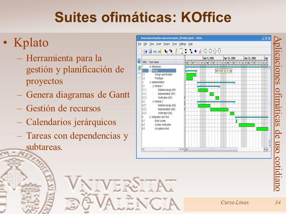 Curso Linux34 Aplicaciones ofimáticas de uso cotidiano Kplato –Herramienta para la gestión y planificación de proyectos –Genera diagramas de Gantt –Ge