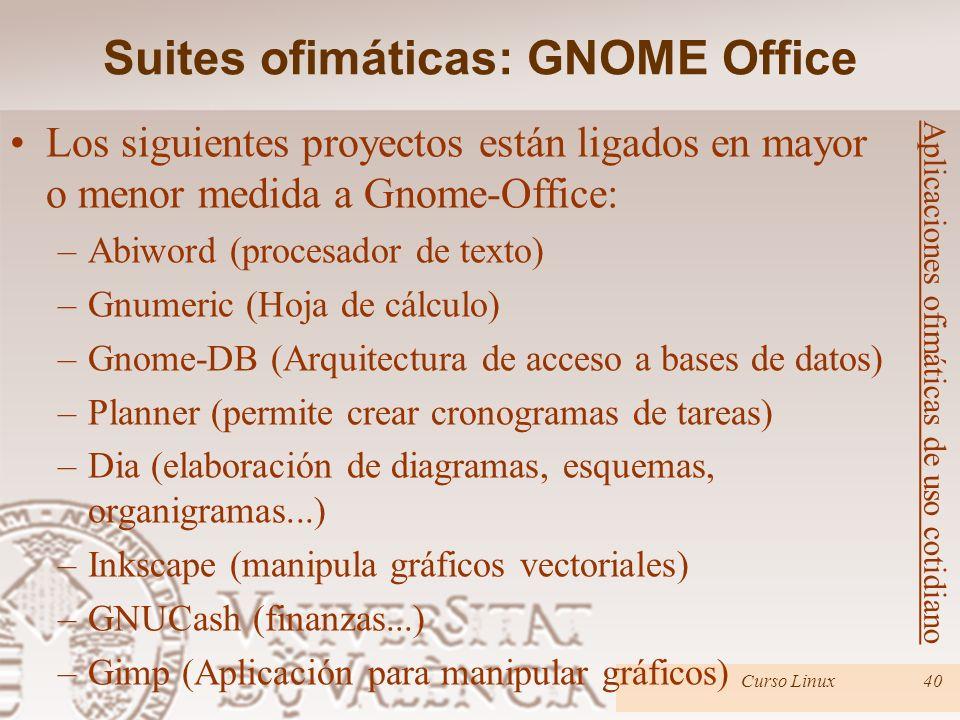 Curso Linux40 Los siguientes proyectos están ligados en mayor o menor medida a Gnome-Office: –Abiword (procesador de texto) –Gnumeric (Hoja de cálculo