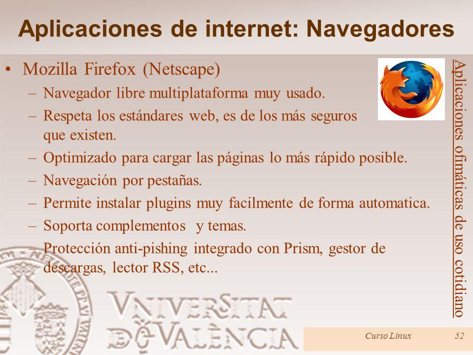 Curso Linux52 Mozilla Firefox (Netscape) –Navegador libre multiplataforma muy usado. –Respeta los estándares web, es de los más seguros que existen. –
