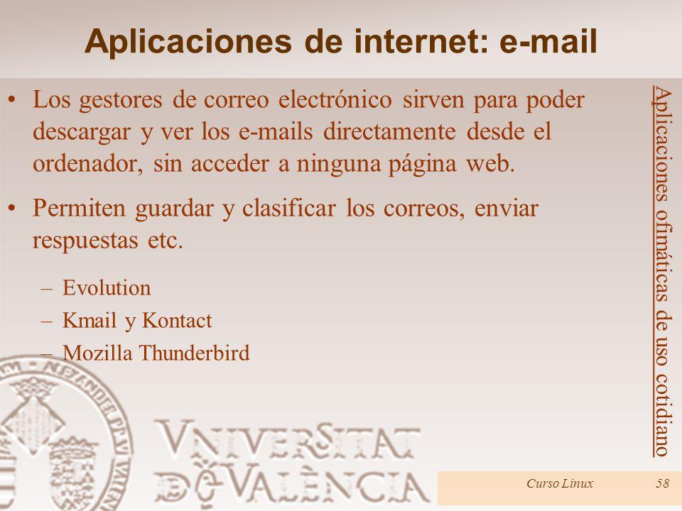 Curso Linux58 Los gestores de correo electrónico sirven para poder descargar y ver los e-mails directamente desde el ordenador, sin acceder a ninguna
