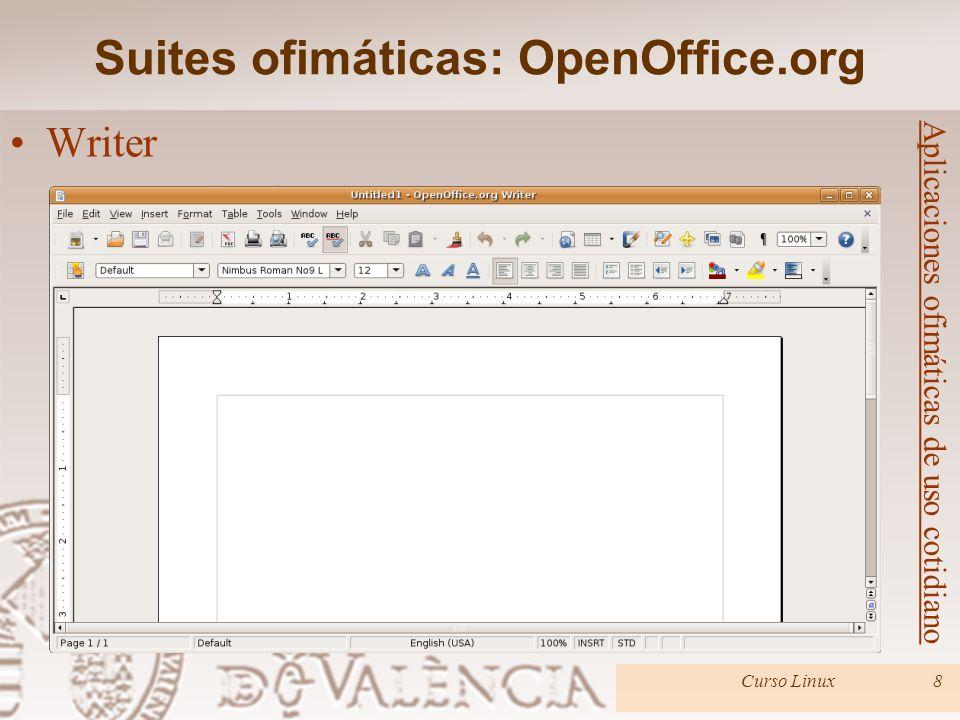 Suites ofimáticas: OpenOffice.org Curso Linux8 Aplicaciones ofimáticas de uso cotidiano Writer –Procesador de textos. –Se pueden crear informes y docu